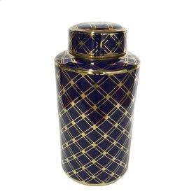 "Blue/gold Ceramic Jar 15.75"""