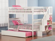 Woodland Staircase Bunk Bed Full over Full with Urban Trundle Bed in White