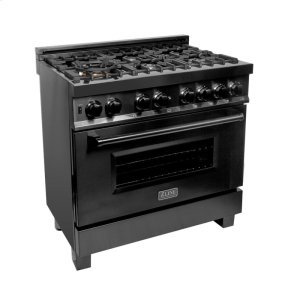 "Zline KitchenZLINE 36"" Black Stainless 4.6 cu.ft. 6 Gas Burner/Electric Oven Range (RAB-36)"