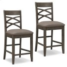 Wood Double Crossback Counter Height Stool with Moss Heather Seat #10084GS/MH - Set of 2 Product Image