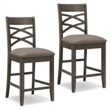 Wood Double Crossback Counter Height Stool with Moss Heather Seat #10084GS/MH - Set of 2