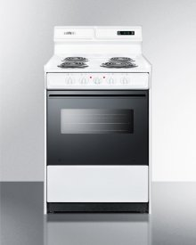 "Deluxe 220v Electric Range In Slim 24"" Width With Digital Clock/timer, Black See-through Glass Oven Door and Light"