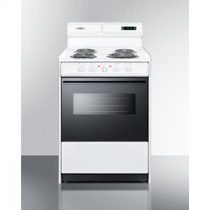"SummitDeluxe 220v Electric Range In Slim 24"" Width With Digital Clock/timer, Black See-through Glass Oven Door and Light"