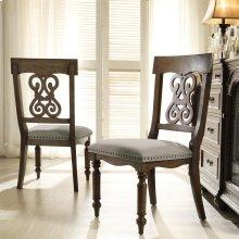 Belmeade - Scroll Upholstered Side Chair - Old World Oak Finish