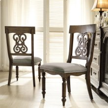 Belmeade - Scroll Upholstered Side Chair - Old World Oak Finish