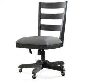 Perspectives Wood Back Upholstered Desk Chair Ebonized Acacia finish Product Image