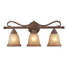 Lawrenceville 3-Light Vanity Lamp in Mocha with Antique Amber Glass