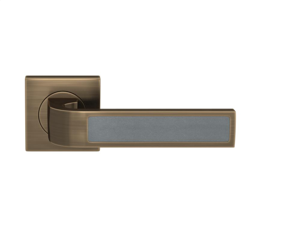 Ski Recess Leather In Slate Grey And Fine Antique Brass