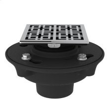"""Polished Chrome Cast Iron 3"""" No Hub Drain Kit with 3142 Weave Decorative Cover"""