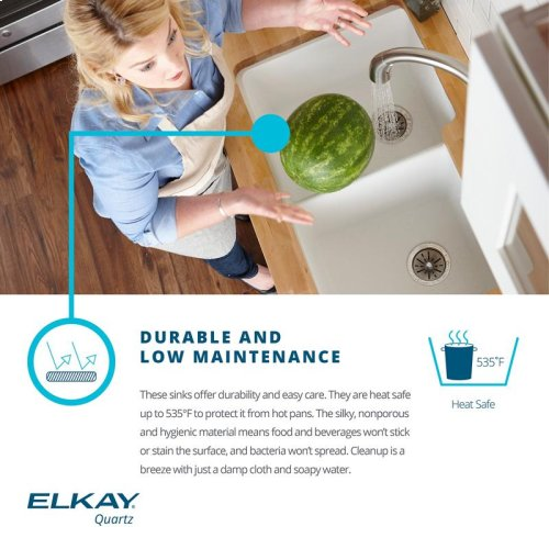 "Elkay Quartz Luxe 32-1/2"" x 20"" x 10"", 60/40 Double Bowl Undermount Sink, Caviar"