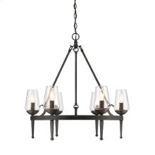 Marcellis 6 Light Chandelier in Dark Natural Iron with Clear Glass