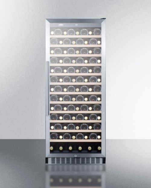 102 Bottle Single-zone Wine Cellar With Glass Door, Digital Thermostat, and Black Cabinet