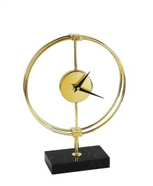 Metal Table Clock On Stand, Gold/Black, Window Box