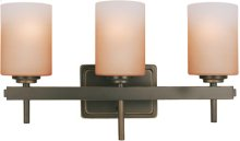 3-lite Wall Lamp, Dark Bronze/amber Glass Shade,a 60wx3
