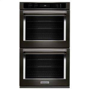 """KITCHENAID27"""" Double Wall Oven with Even-Heat True Convection - Black Stainless"""