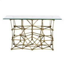 """Gold Leaf Iron Console Table With Rectangular 22"""" X 54"""" Glass Top"""