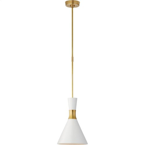 Visual Comfort S5640HAB-WHT Studio VC Liam 1 Light 10 inch Hand-Rubbed Antique Brass Pendant Ceiling Light, Small Conical