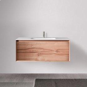 """45° FULL series 1200 vanity, Natural Oak frame/Vintage Oak front; 47 1/4"""" w x 19"""" h x 20"""" d"""