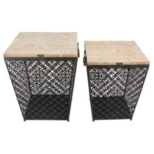 S/2 Black Metal/wood Storage Tables