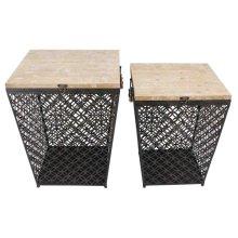 S/2 Black Metal/wood Storage Tables