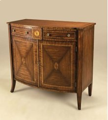 AGED REGENCY FINISHED VENEERED BOWFRONT CHIFFONIER WITH MARQ UETRY DETAIL, POMPEIAN BRASS A