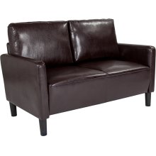 Washington Park Upholstered Loveseat in Brown Leather
