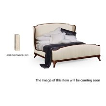 Cali King Louis XV Limed Tulip Bed, Upholstered in Chalk Silk