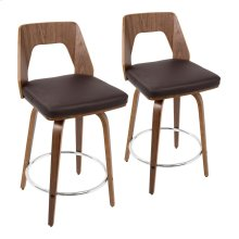"Trilogy 24"" Counter Stool - Set Of 2 - Walnut Wood, Brown Pu, Chrome"