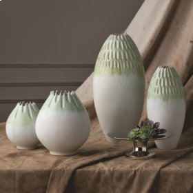 Cut Carved Vase-Sage-XL
