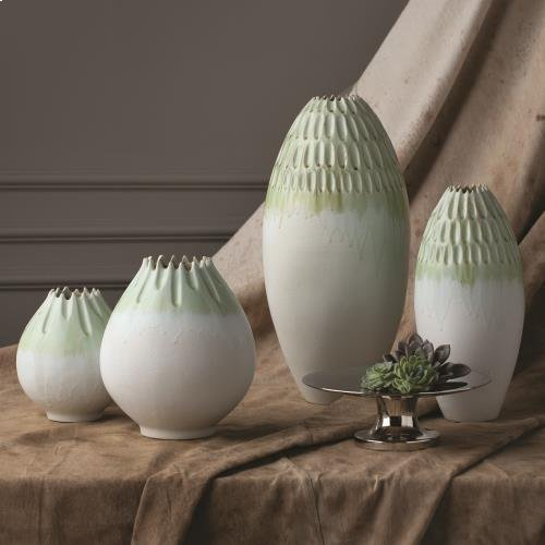 Cut Carved Vase-Sage-Med