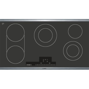 "Bosch36"" Electric Cooktop 800 Series - Black with Stainless Steel Frame NET8666SUC"