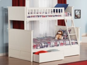Nantucket Bunk Bed Twin over Full with Flat Panel Bed Drawers in White