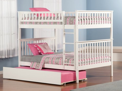 Woodland Bunk Bed Full over Full with Urban Trundle Bed in White