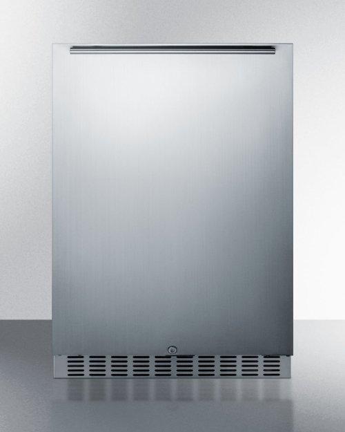 Outdoor All-refrigerator for Built-in or Freestanding Use, With Stainless Steel Exterior, Black Interior, Front Lock, and Digital Controls