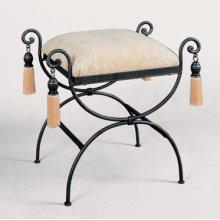 "Garden District ""Black/Pewter"" Upholstered Vanity Bench"