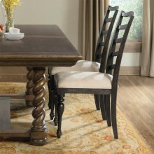 Cassidy - Upholstered Ladderback Side Chair - Charred Oak Finish