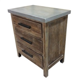 Venezio Small Cabinet 3 Drawers w/ Faux Cement Top, Rustic Brown