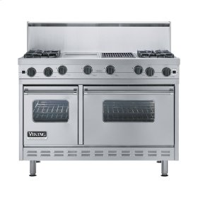 """Stainless Steel 48"""" Open Burner Commercial Depth Range - VGRC (48"""" wide, four burners 12"""" wide griddle/simmer plate 12"""" wide char-grill)"""