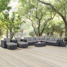 Summon 11 Piece Outdoor Patio Sunbrella® Sectional Set in Canvas Gray