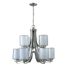 9 Light Chandelier in Brush Nickel Finish