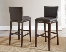"Tiffany Bonded Bar Chair w/ Nailhead, Brown, 18""x22""x41"""