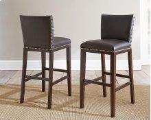 "Tiffany Bonded Bar Chair w/ Nailhead, Brown, 18""x22""x41"""