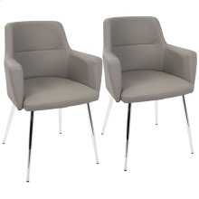 Andrew Chair - Set Of 2 - Chrome, Grey Pu