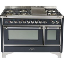 Matte Graphite with Chrome trim - Majestic 48-inch Range with Griddle