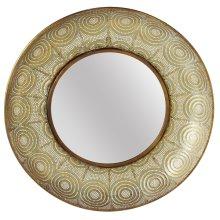 Gold Patina Stamped Filigree Framed Wall Mirror.