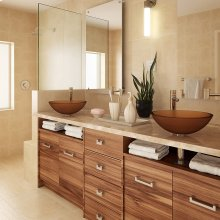 Anani Round Above-counter Glass Sink - Frosted Amber