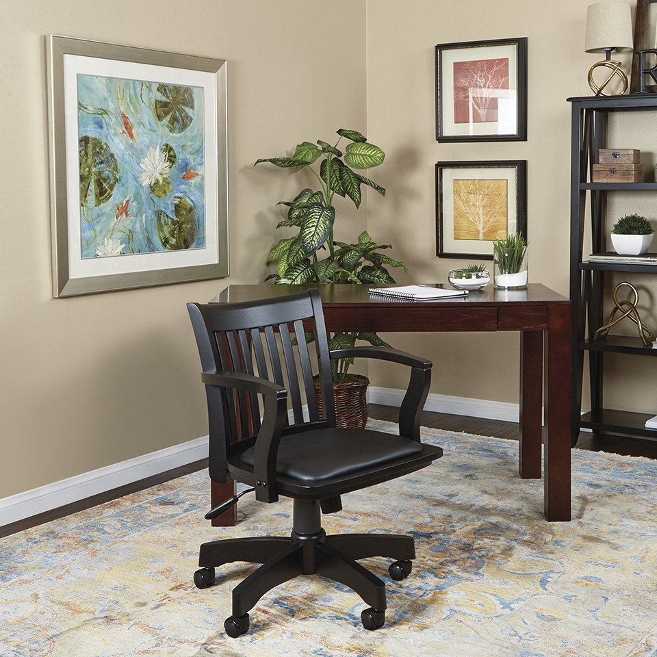 Deluxe Wood Bankeru0027s Chair With Vinyl Padded Seat In Black Finish With Black  Vinyl