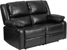 Harmony Series Black Leather Loveseat with Two Built-In Recliners