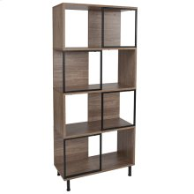 """Paterson Collection 4 Shelf 26""""W x 58.75""""H Bookcase and Storage Cube in Rustic Wood Grain Finish"""