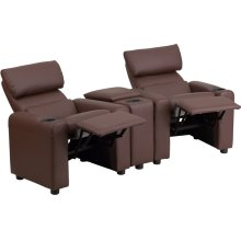 Kid's Brown Leather Reclining Theater Seating with Storage Console